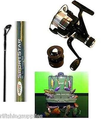 Brand New 6ft 2 Piece Pike Carp Spinning Rod + Reel + 12 Spinners Lure Set Combo • 34.87£