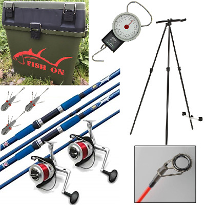 SEA FISHING SET- 2 X 12FT BEACHCASTER RODS REELS TRIPOD SEAT BOX SCALES WEIGHTS • 169.30£