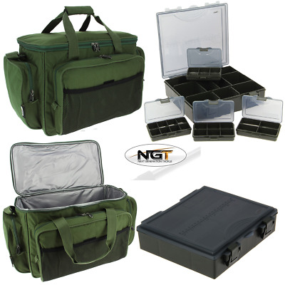 NGT Carp Fishing Insulated Tackle Bag 709 + 4+1 Tackle Box System Carp Bundle • 24.95£