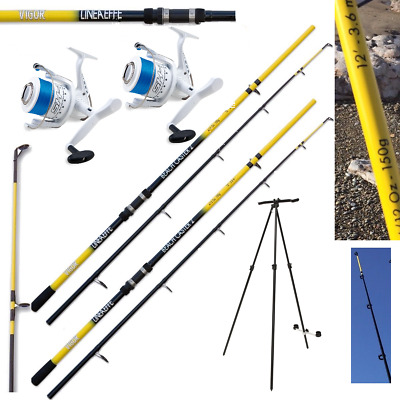 Sea Fishing Set 2 X 12ft Beachcaster Rods + 2 X Shizuka Sea Reels + Tripod • 128.95£