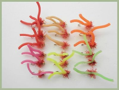 Worm Fishing Flies, 18 Pack, GH Fritz Squirmy Worms, Mixed Colour, SIze 10, • 6.99£