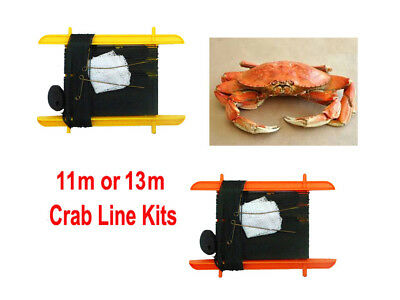 11m / 13m Crab Fishing Line Kit Catcher Rings With Weight & Net Bag No Hooks • 1.80£