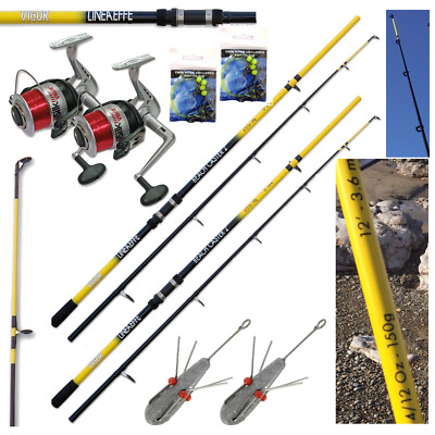 Sea Fishing Set Up - 2 X 12ft Beachcaster Rods + 2 X Sea Reels + Weights + Rigs • 89.95£