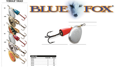 BLUE FOX VIBRAX® SHAD Spinners 4g - 13g Various Colours • 6.95£
