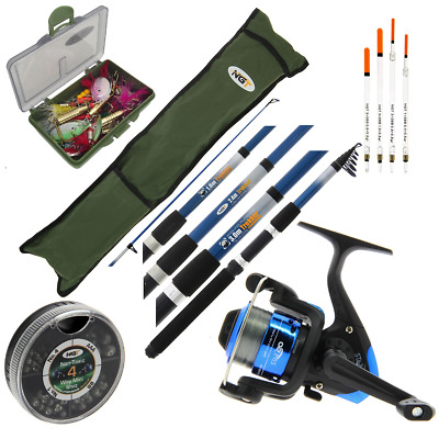 COMPLETE FISHING SET ROD AND REEL TRAVEL SET BAG FLOATS TACKLE 6ft 8ft Or 10ft • 39.05£