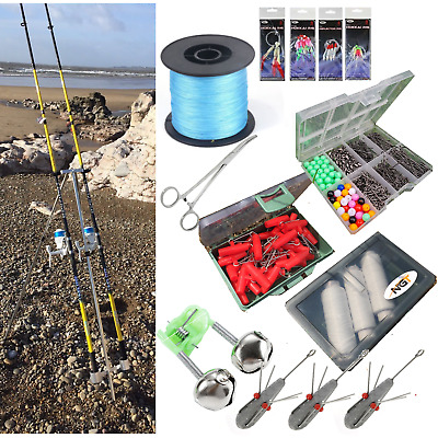 Full Sea Fishing Set Up - 2 X 12ft Beachcaster Rods + Reels + Tripod + Tackle • 129.95£