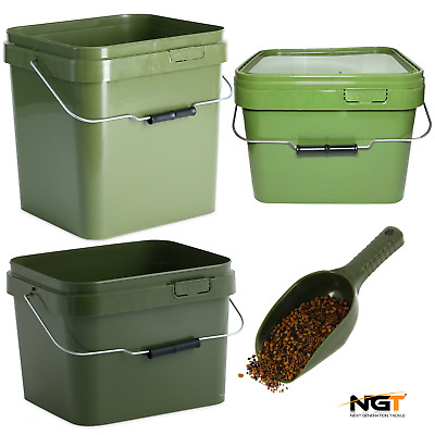 Carp Fishing Square Green Bait Buckets + Lid 5l , 10l , 17l / Ngt Baiting Spoon • 15.95£