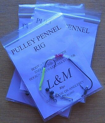 4 X PULLY PENNEL CLIP DOWN L&M SEA FISHING RIG 80lb BODY 3/0 1/0 STINGER HOOKS • 6.50£