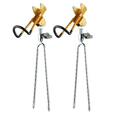 RODEEL 2Pcs Set Fishing Rods Pod Stand Bank Fishing Rod Holder • 15.99£