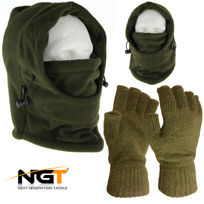 Ngt Carp Fishing Green Snood With Face Guard + Green Fingerless Gloves Gift Set • 12.95£