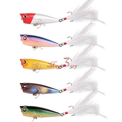 5PCS Topwater Popper Minnow Floating Freshwater Fishing Lures Bass Bait Tackle • 8.99£