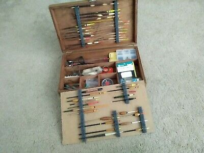 Old School Wooden Float/tackle Box With Old School Contents • 27£