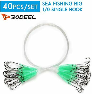 Rodeel 40 PCS Sea Fishing Rigs Ready Rigs With High Carbon Steel Fishing Hooks • 6.99£
