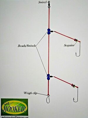 4 X Two Hook Flapper Sea Fishing Rig, Made In No2 Aberdeen Hooks.  • 4.75£