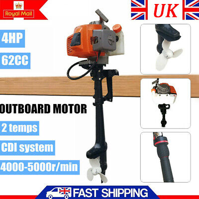 2 Stroke 4HP Fishing Boat Outboard Motor Engine 2.2KW CDI System Air Cooled 62CC • 178.04£