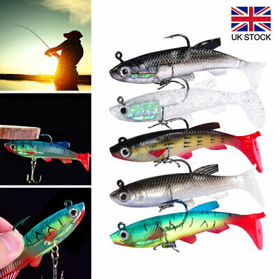 5x Soft Jelly Rubber Weighted Fishing Lures Set Paddle Tail Hook Bait Perch Pike • 6.39£