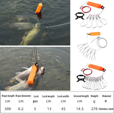 Fishing Stringer 360° Buckle Rope Float Stainless Steel New High Quality • 10.80£