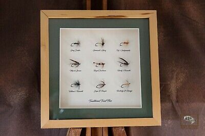 Framed Fishing Flies For Collectors 9 Traditional Trout Flies In 8  X 8  Frame • 30£