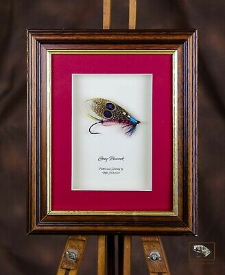 Framed Classic Salmon Fishing Flies For Collectors The Grey Peacock • 50£