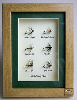 Framed Fishing Flies For Collectors 6 North Country Spider Patterns Gift Pack • 30£