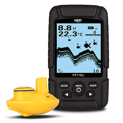 LUCKY 2.5  LCD 147feet(45m) Fish Finder Wireless 90° Sonar Waterproof Floatings • 90.41£