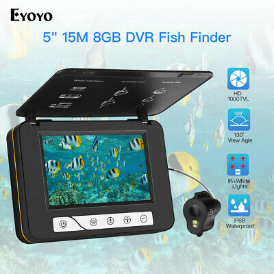 5  Screen 15M HD 1000TVL Underwater Video Camera W/8GB DVR Fishfinder Waterproof • 113.72£