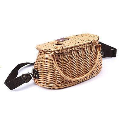 Fish Basket Creel Wicker Fishermans Traps W/ Strap Pouch Portable Bamboo • 34.02£