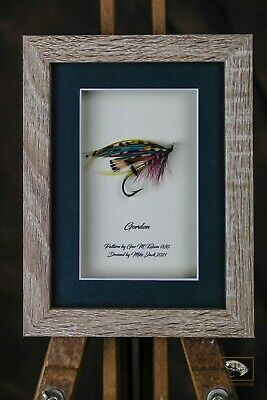 Framed Classic Salmon Fly For Collectors Size 4/0 Gordon 5 X 7  Shadow Frame  • 25£