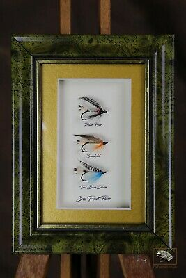 Framed Fishing Flies For Collectors 3 Sea Trout Flies In Shadow Mount Frame • 25£