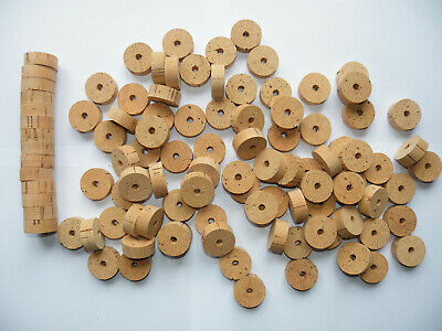 100 Cork Rings Overstock Flor 1 1/4 X1/2  Bore 1/4  - Free Ship Worldwide!!!! • 68.02£