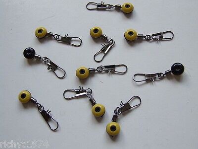 10 X RUNNING LEDGER LEAD FEEDER LINK SWIVELS BEADS SNAP CARP BOLT PULLEY RIG • 2.59£