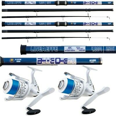 2 X 14FT Beach Caster Sea Fishing BLUE Ocean Rod + 2 X Shizuka 7000 SEA Reels • 78.80£