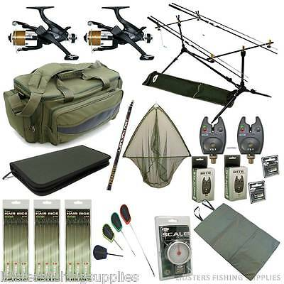 Full Carp Fishing Starter Set Up 2 Rods And Reels Bag Alarms Holdall Tackle CR • 230.70£