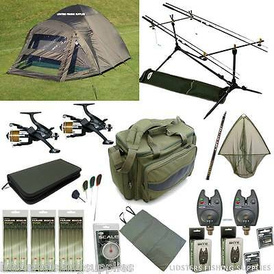 Full Carp Fishing Starter Set Up Bivvy Tent 2 Rods And Reels Bag Alarms Tackle • 349.81£