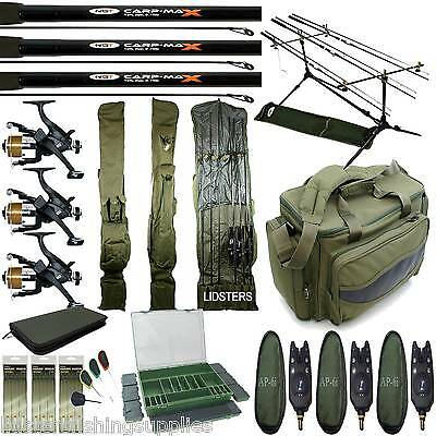 Carp Fishing Starter Set Up 3 Rods 3 Reels Bag Alarms Bag Tackle Box 3+3 Holdall • 253.03£