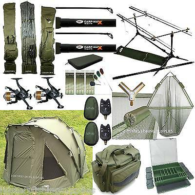 Complete Full Carp Fishing Set Up 2 Man Bivvy 2 Rods Reels Bag Alarm Holdall Net • 565.71£