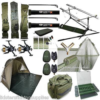 Full Carp Fishing Set Up Shelter Bivvy 2 Rods Reels Bag Alarm Holdall Net NGT • 312.59£