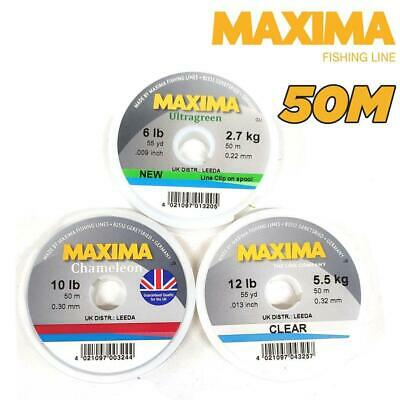 MAXIMA LEADER FISHING LINE 50m SPOOL 2LB-15LB CLEAR, ULTRAGREEN OR CHAMELEON • 2.85£