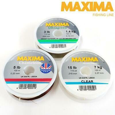 MAXIMA LEADER FISHING LINE 100m SPOOL 3LB-20LB CLEAR, ULTRAGREEN OR CHAMELEON • 4.50£