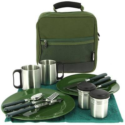 NGT Deluxe Fishing Camping Picnic Day Cutlery Set 2 Plates Forks Towel Mugs Bag • 27.95£