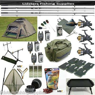 3 Rod Carp Fishing Set Up Bivvy Tent Reels Bag Bait Mat Scales Net Alarms Table • 409.37£