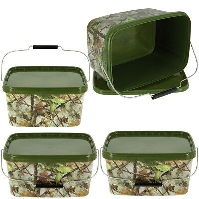 3 X Square 5l Camo Bait Buckets For Boilies Pellets Carp Coarse Fishing Tackle • 22.65£