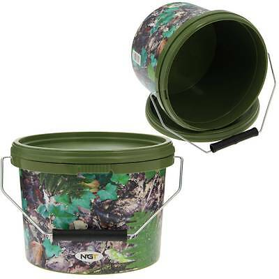 2 X Round 2.5l Camo Bait Buckets For Boilies Pellets Ngt Carp Fishing Tackle • 10.76£