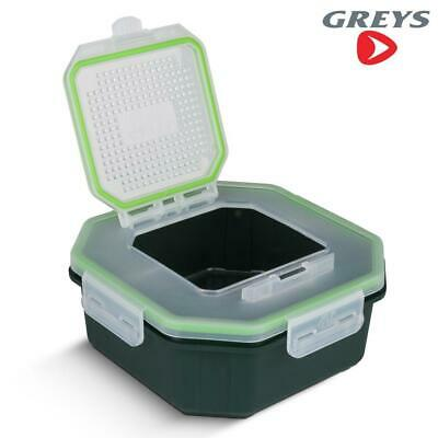 Greys Klip-lok Flip Top Fishing Bait Box - Perforated Lid Bait Tub • 7.99£