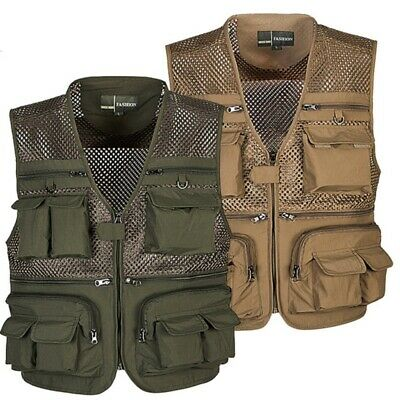 Men Outdoor Multi-Pocket Vest Travelers Fly Fishing Camping Quick-Dry Jacket • 18.99£