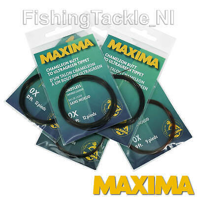Maxima Tapered Leader Chameleon Butt To Ultragreen Tip 9ft & 12ft All Sizes Fish • 3.49£