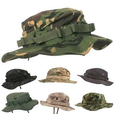 Mens Army Style Boonie Bush Hat Chinstrap Camouflage Ripstop Cotton Fishing • 10.99£