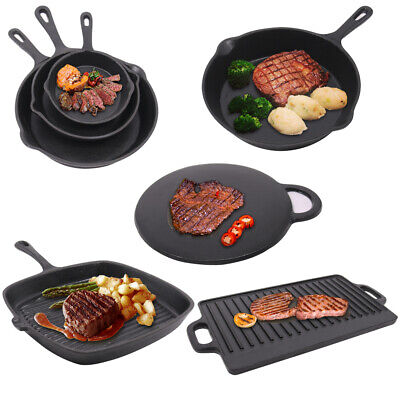 Cast Iron Frying Enamel Pan Grill BBQ Skillet Pancake Reversible Griddle Plate • 21.99£