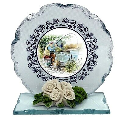 Fishing Cut Glass Plaque Plaque  Gift • 27£