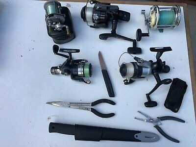 Sea Fishing Rods, Reels, Box & Bag (Job Lot Used) Various Rigs, Line, Rod Holder • 32£
